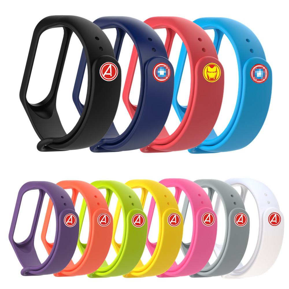Replacement <font><b>Strap</b></font> For Xiaomi <font><b>Mi</b></font> <font><b>Band</b></font> <font><b>4</b></font> <font><b>Avengers</b></font> <font><b>Strap</b></font> For Xiaomi <font><b>Band</b></font> <font><b>4</b></font> 3 Wristband For <font><b>Mi</b></font> <font><b>Band</b></font> 3 Silicone Bracelet Accessories image