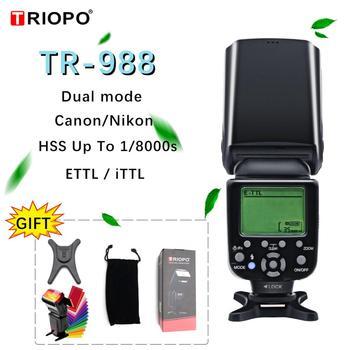 TRIOPO TR-988 lampa błyskowa profesjonalna lampa błyskowa Speedlite TTL z szybką synchronizacją do aparatu Canon Nikon lustrzanka cyfrowa PK YN560IV tanie i dobre opinie 18cm x 12cm x 10cm (7 09in x 4 72in x 3 94in) 4 x AA size batteries 5500k about 700g Insulated Gate Bipolar Transistor(IGBT)