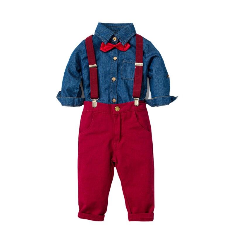 Meninos roupas denim camisa + calças vermelhas