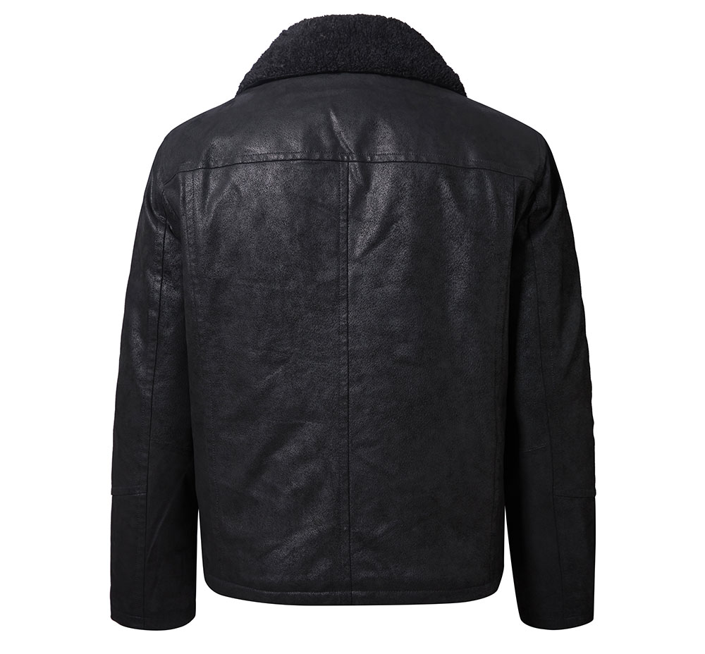 H4149a8f140cb4c40a28b144b49049bd6u FLAVOR New Men's Genuine Leather Motorcycle Jacket Pigskin with Faux Shearling Real Leather Jacket Bomber Coat Men