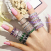 2021 New Arrival Fashion Luxury Green Black Pink 925 Sterling Silver Eternity Band Wedding Ring For Women Party Gift Jewelry Z13