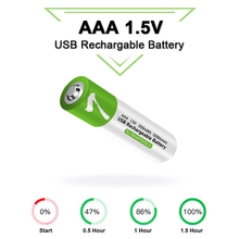 Novo 1.5v aaa usb recarregável 550 mwh li-ion baterias aaa para controle remoto sem fio mouse + cabo