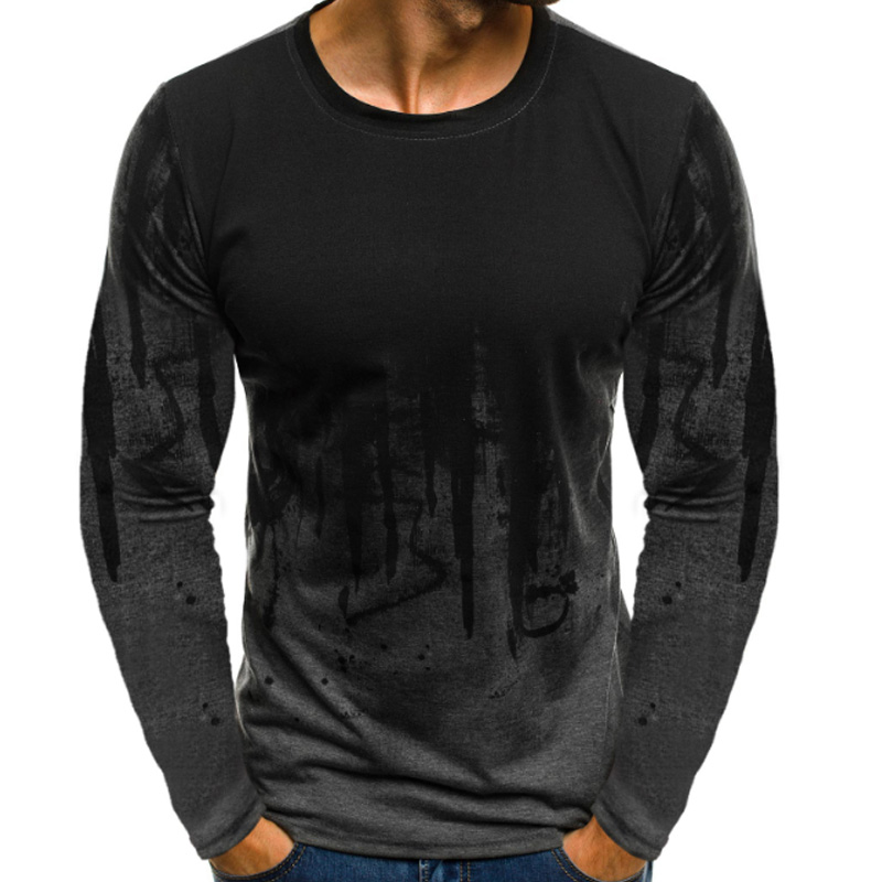 Popular Male Long Sleeve T shirts Fitness Camouflage Printed Streetwear Hot Sale  High Quality Top Round Neck Men Clothes 1PC