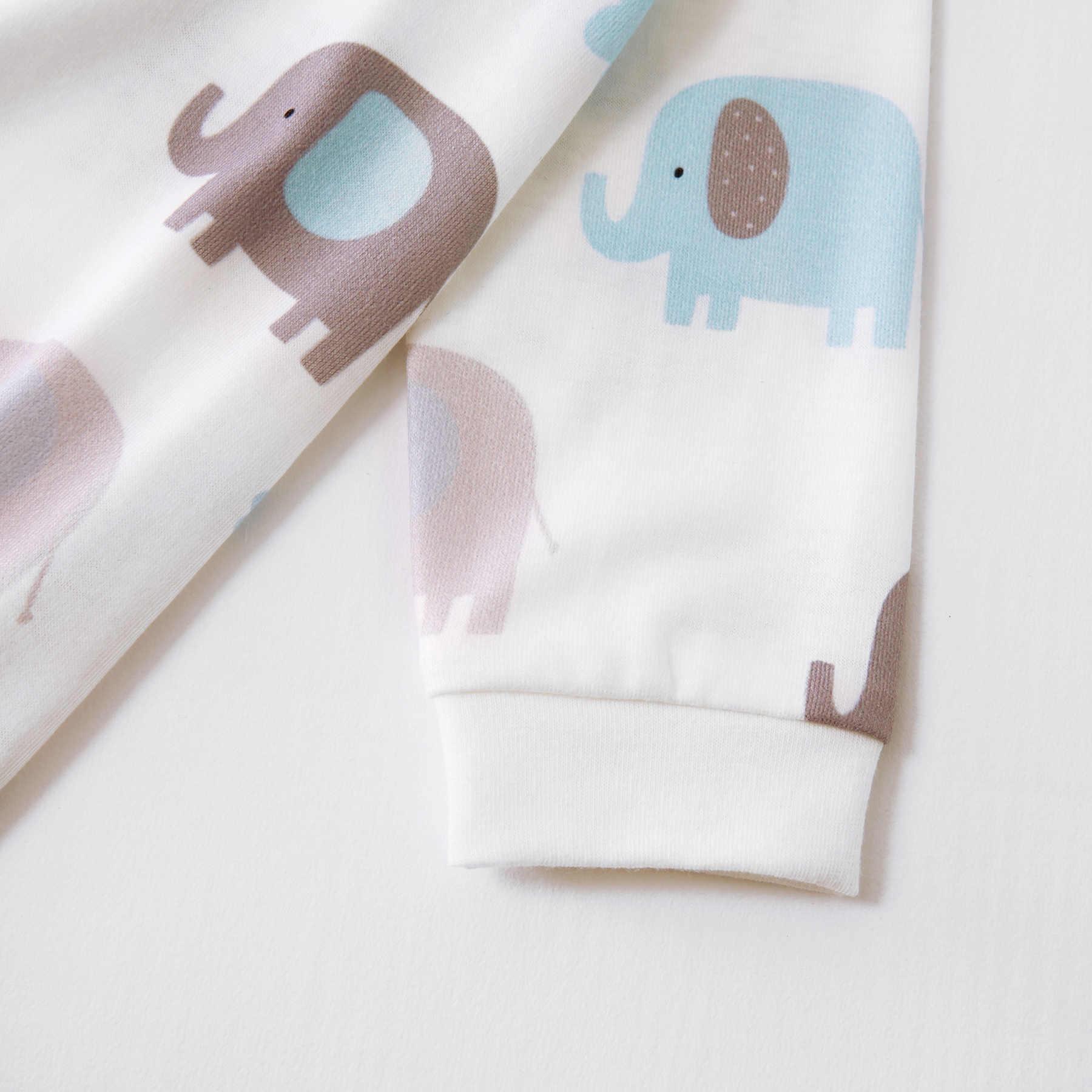 PatPat Baby Elefanten Allover Baumwolle Stil Lange-sleeve Overall Bottom Snap Herbst Freizeit für Baby Kleinkind Junge Mädchen 0 -18M