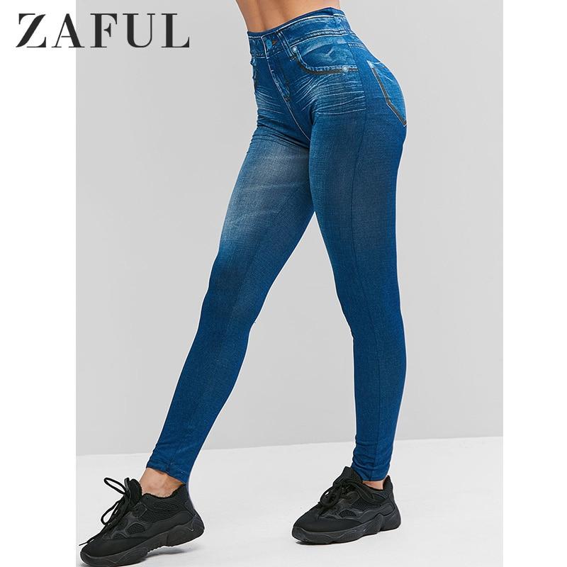 ZAFUL Denim Leggings Women Pants Elastic High Waist Printing Leggings 2019 Autumn Trousers Jumper Streetwear Long Jeggings Femme