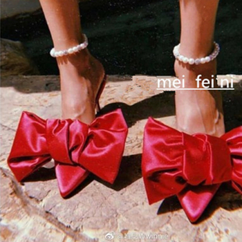 2020 spring new women's pointed high heels bowknot mules can be customized 42-44 size