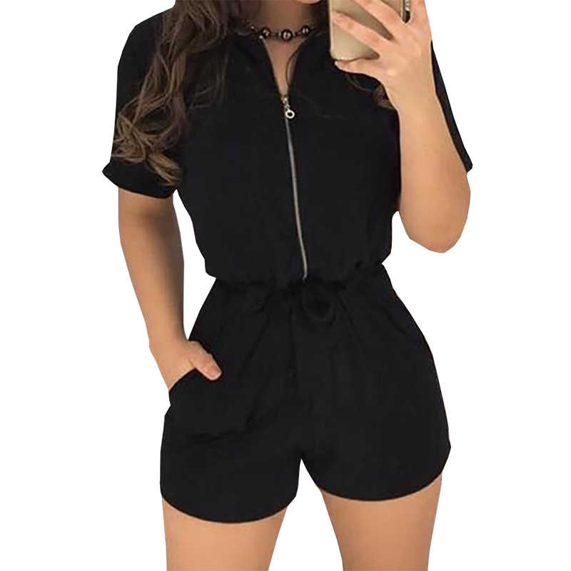 Sexy Zipper Kurzarm Nähte Shorts Bodysuit Overall Casual einfarbig Frauen Overall Sexy Shorts Strampler