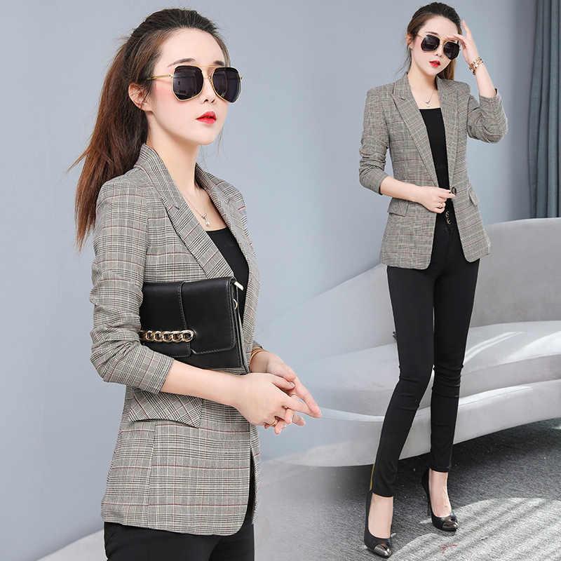 秋の女性のエレガントなチェック柄のジャケット長袖ツバメにグリッドブレザーファッションの仕事はスリム女性のコート生き抜くプラスサイズ q28