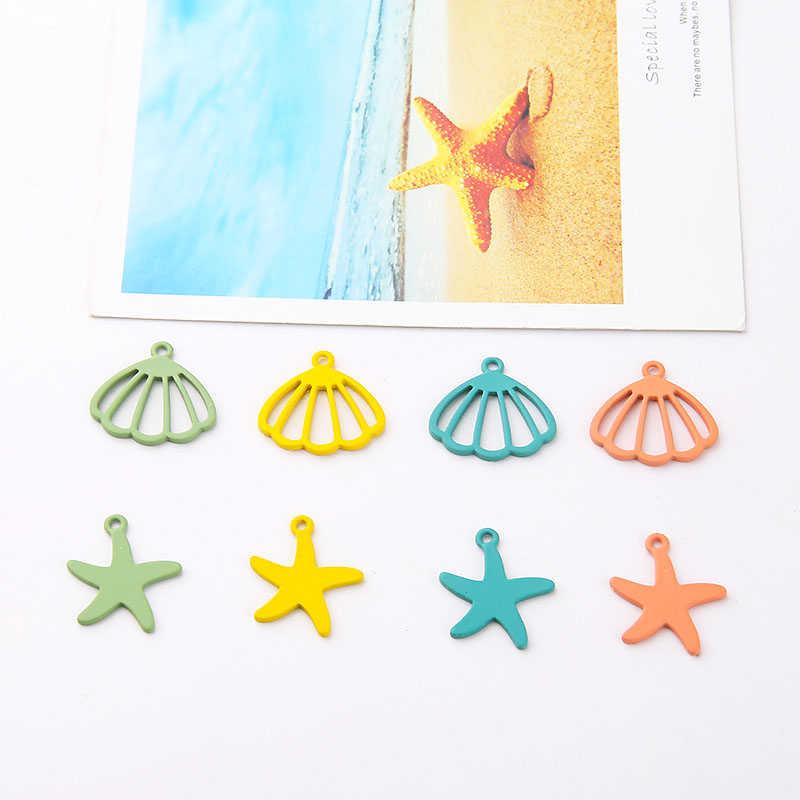 10 adet yaz sprey boya bırak Dangle küpe plaj küpe kabuk denizyıldızı çilek kiraz kaktüs kolye Diy küpe malzeme