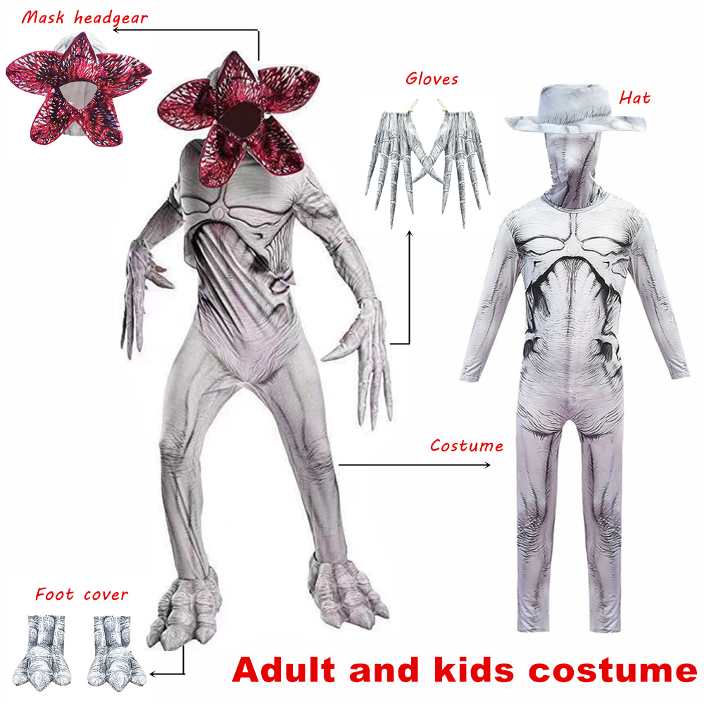 Fortress Cosplay Demogorgon Skin Costume For Kids Halloween Stranger Things 3 Scary Carnival Party Creepy Zombie Zentai Bodysuit