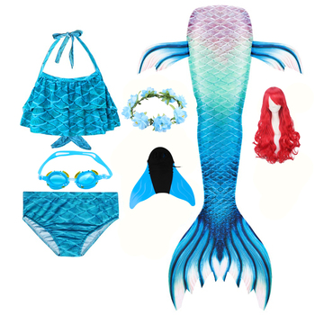 Christmas Gift Girl's Mermaid Tail for Kids Swimming Bating Suit Costume Swimsuit Swimmable Cosplay Bikini Set Monofin Fin wigs