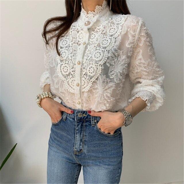 Women Crochet Lace Blouses Women Korean Ladies Solid Color Stand Collar Long Sleeve Blusa Vintage Blouse Spring Shirt Tops 1