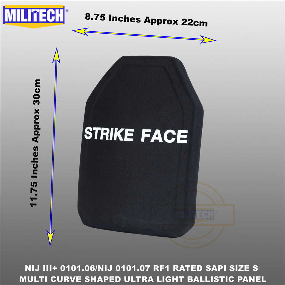 Ballistic Bulletproof Plate NIJ Level 3+ NIJ 0101.07 RF1 SAPI Sized 1 PC Ultra Light PE Panel Against M80&AK47&M193--Militech