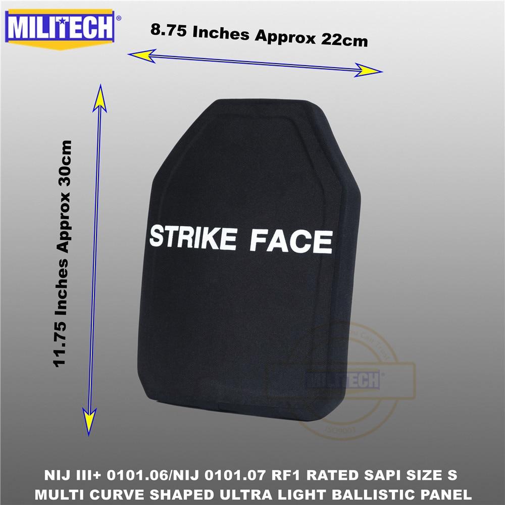Ballistic Bulletproof Plate NIJ Level 3+ NIJ 0101.07 RF1 SAPI Sized 1 PC Ultra Light PE Panel Against M80&AK47&M193--Militech