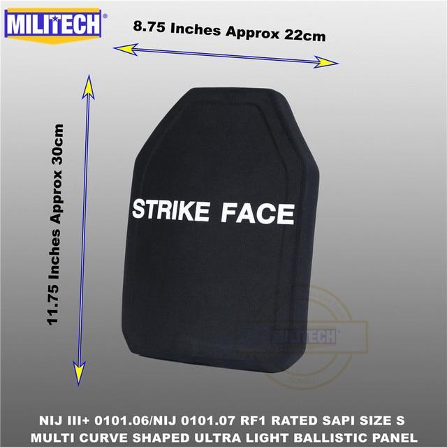 בליסטי פלייט Bulletproof NIJ רמת 3 + NIJ 0101.07 RF1 SAPI בגודל 1 PC קל במיוחד PE פנל נגד M80 & AK47 & M193 Militech