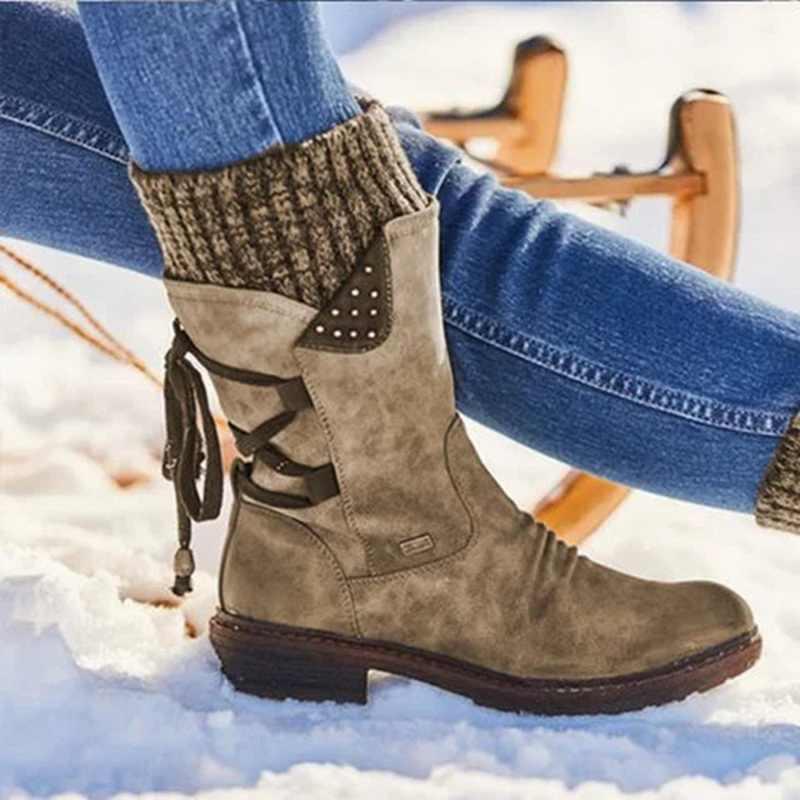 Laamei kadın botları sonbahar PU orta buzağı çizmeler ile geri dantel-up tasarım çizmeler katı renk düşük topuklu ayakkabı Botas Mujer Dropshipping