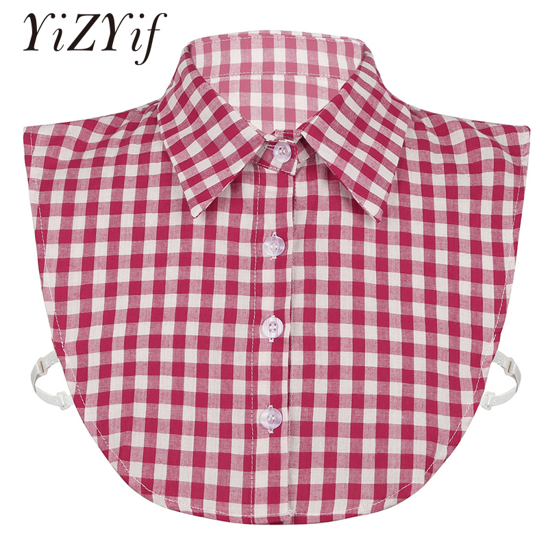 Fake Collar Women Girls Stylish Detachable Small Grid Plaid Print Fake Collar Dickey Collar Half Shirts Blouse False Collar 2019