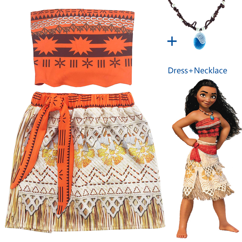 New Vaiana Moana Princess Cosplay Costume For Children Dress Costume With Necklace For Halloween Costumes For Kids Girls Gifts