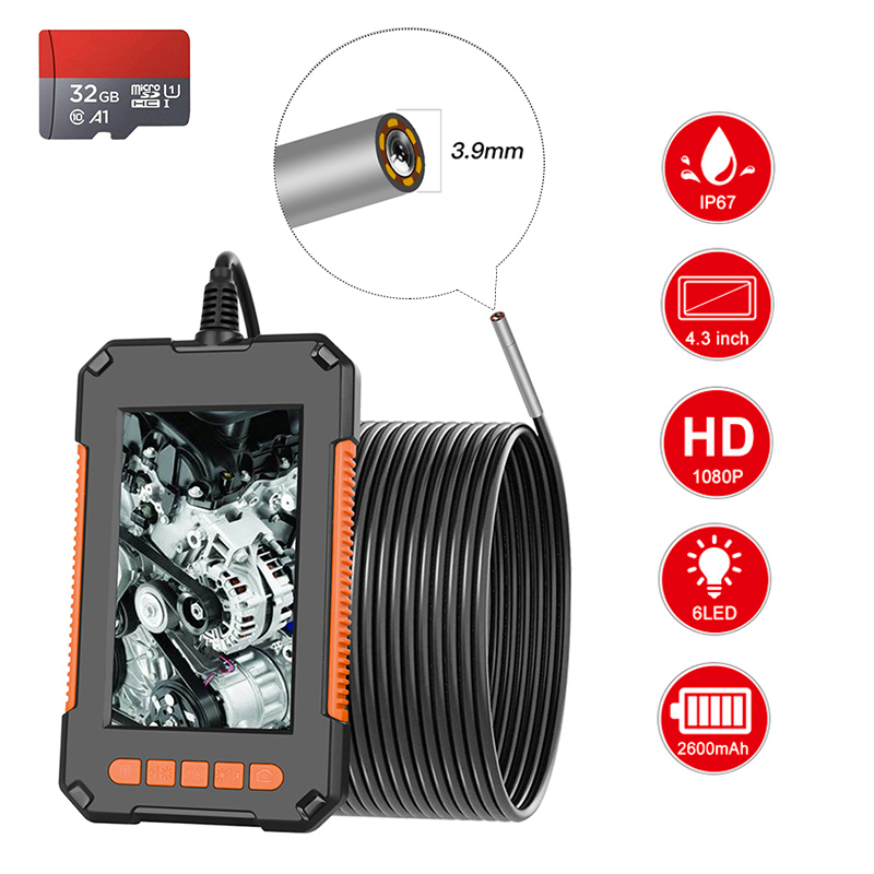 Industrial Endoscope 3 9mm Home Drain Snake Camera 1080P HD 4 3    Screen IPS IP67 Semi-Rigid Snake Camera with 32GB TF Card