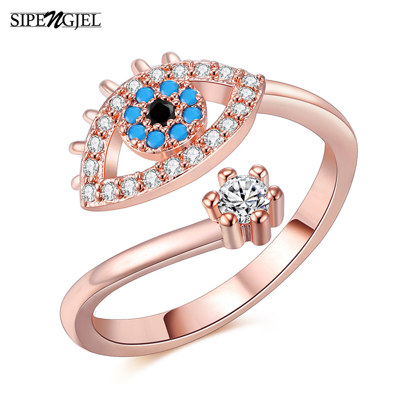 SIPENGJEL Tiny Trendy Cubic Zirconia green Eye Rings Rose Gold black eye Adjustable Rings For Women Girls Luxury Wedding Jewelry 3