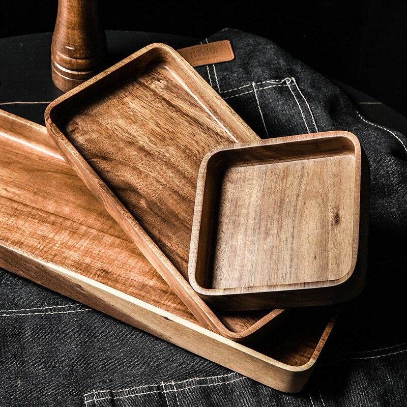 1 шт акации поднос квадратный прямоугольник завтрак суши закусочный хлеб десертная тарелка для торта с удобной переноски рифленая ручка-2