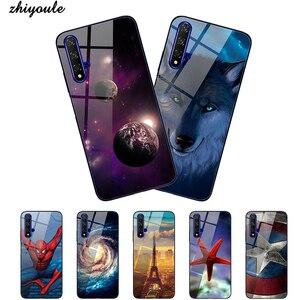 Чехол из закаленного стекла для телефона Huawei Honor 20 20 pro 10 lite 10i 7X 8X, Чехлы, покрытие, синий свет, роскошный стеклянный чехол, Fundas