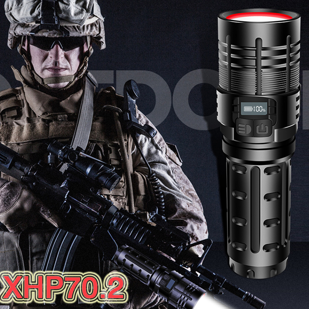 Tactical Torch Led Flashlight xhp70.2 Powerful Rechargeable 18650 Hunting mini Military Flashlight USB Hand Lamp xhp50 Lanterna
