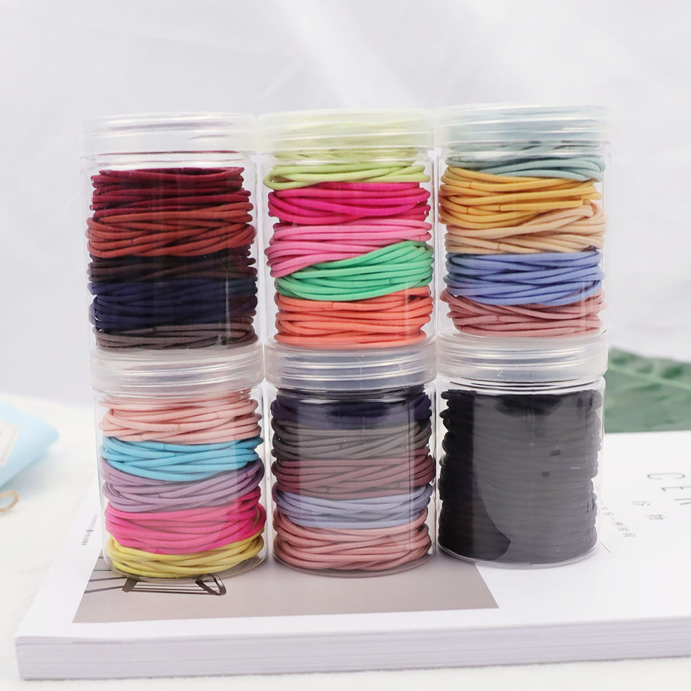 100pcs Candy Color  High Quality Hair Rubber Ties For Women Simple Solid Elastic Hair Band Ponytail Holder Hair Elastics Accesso