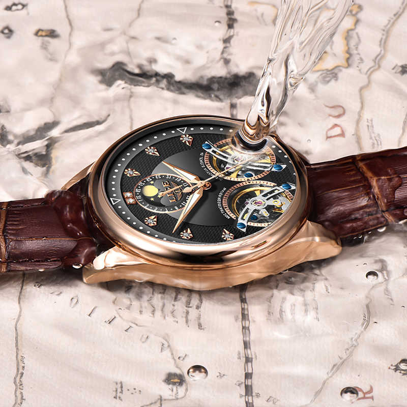 2020 ใหม่ LIGE นาฬิกาผู้ชายหรูหราหนังคู่ Tourbillon ธุรกิจแฟชั่นกันน้ำ Watch10013