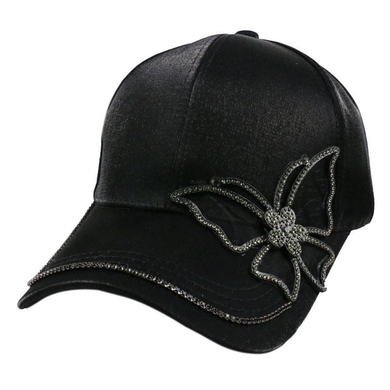 Winfox Fashion Black Rhinestone Butterfly Baseball Cap Girls Women Snapback Hip Hop Sun Hat