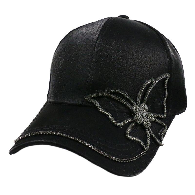 Winfox Fashion Black Rhinestone Butterfly Baseball Cap Girls Women Snapback Hip Hop Sun Hat