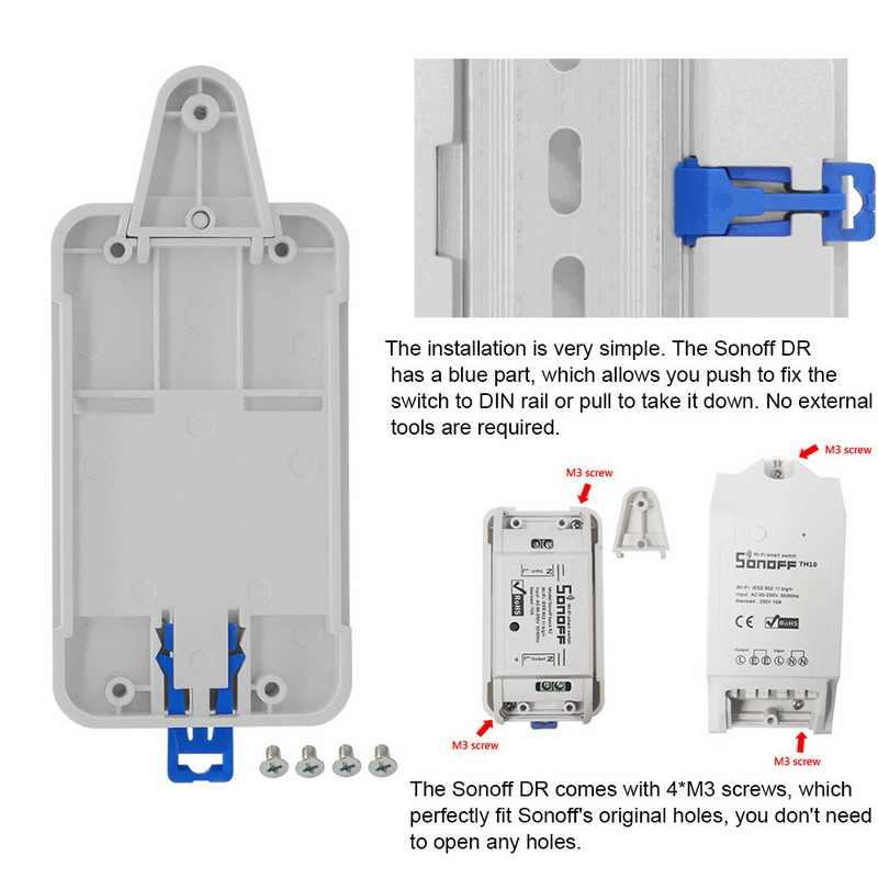 1 piezas de seguridad ajustable cableado conductos vivienda interruptor estándar Multi-función caja de tarjeta para Sonoff básica/TH10 Dual