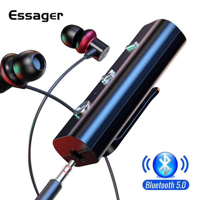 Essager Bluetooth 5.0 מקלט עבור 3.5mm שקע אוזניות אלחוטי מתאם Bluetooth Aux אודיו מוסיקה משדר עבור אוזניות