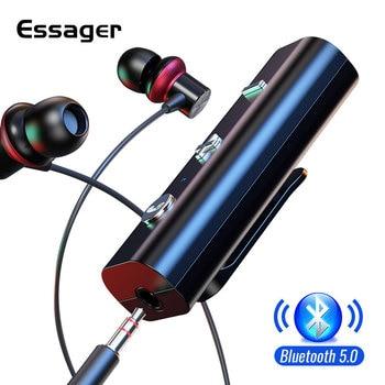 Essager Bluetooth 5.0 მიმღები 3.5 მმ ჯეკის ყურსასმენისთვის უსადენო ადაპტერი Bluetooth AUX აუდიო მუსიკალური გადამცემი ყურსასმენისთვის
