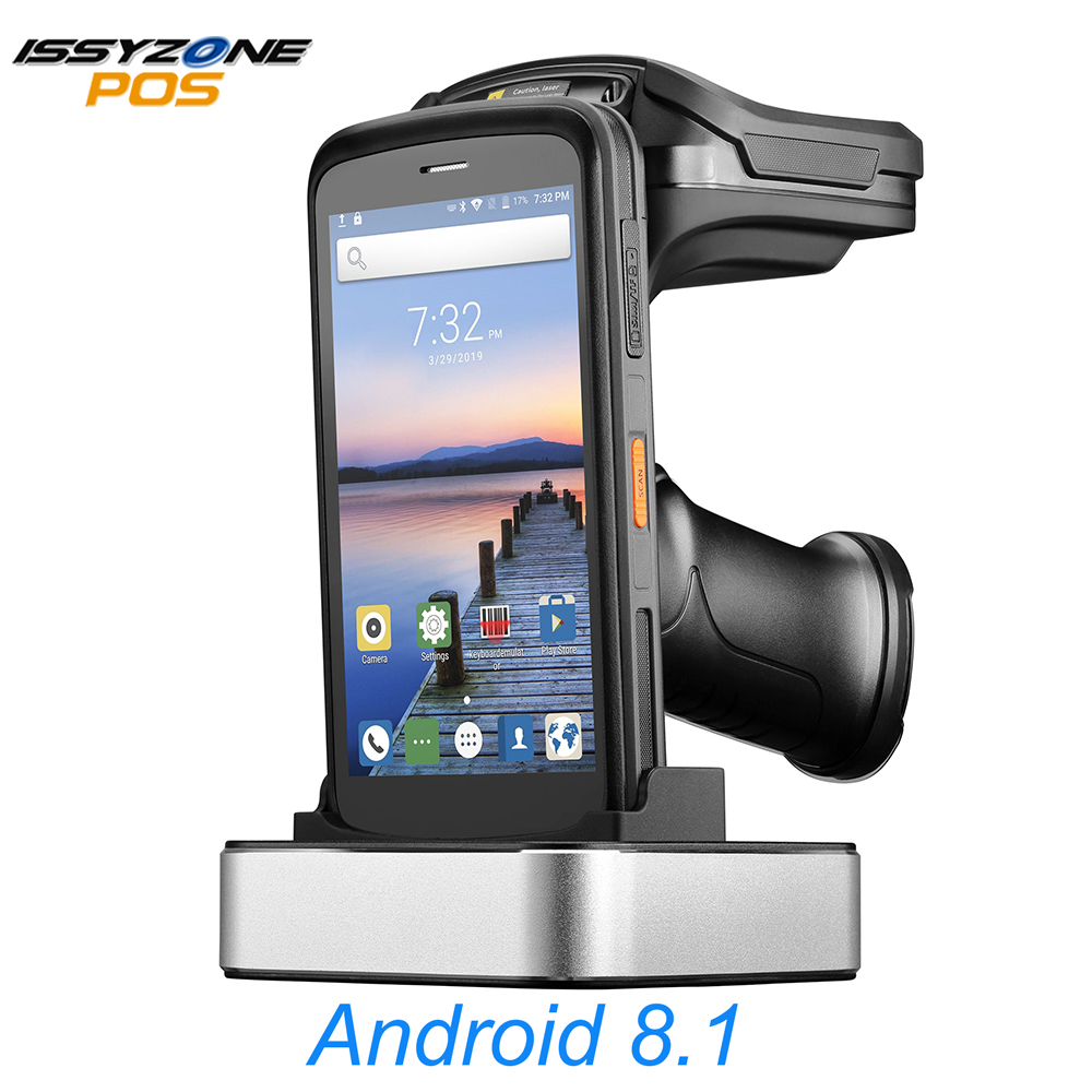 IssyzonePOS ręczny Android 8.1 PDA wytrzymały Terminal POS Zebra skaner kodów kreskowych 2D NFC 4G kolektor danych UHF czytnik RFID 8000mAh