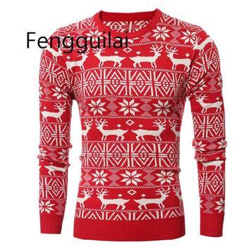 Winter Christmas Sweater Men Fashion Deer Print Jumper Pullover Sweater Long Sleeve Warm Casual Elk Knit Sweater Tops New Year long sleeve elk print christmas mini swing dress