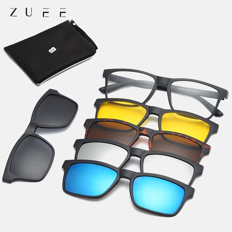 Мужские поляризационные солнцезащитные очки ZUEE, 5 линз, магнитный зажим, зеркальные солнцезащитные очки с зажимом, оправа, очки с зажимом по рецепту для близорукости|Мужские солнцезащитные очки| | АлиЭкспресс