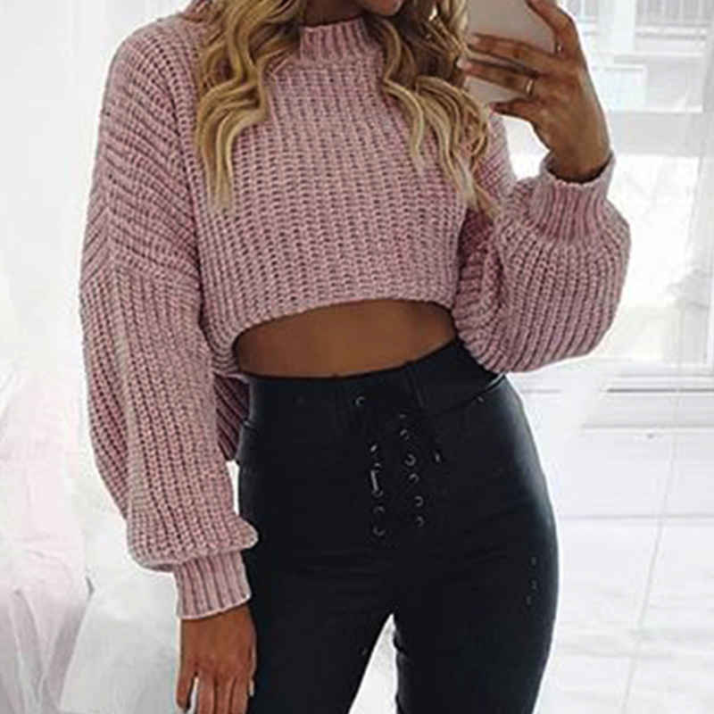 Pink Loose Short Sweater Pullovers Women Autumn Lantern Sleeve Knitted Pullover Female Black White Spring Crop Casual Sweater