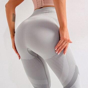 CHRLEISURE Leggings Women High Waist Sexy Seamless Gym Leggings Hollow Printed Workout Pants Push Up Elasticity Legins Women