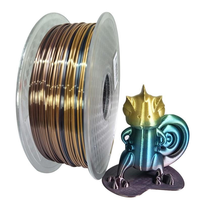 Нить шелковая Радужная PLA для 3D принтера, 1,75 мм, 0,25/0,5/1 кг