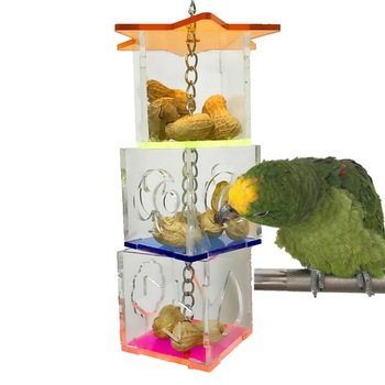 Parrot Hanging Chewing Feeding Toy, 3 Layer Transparent Food Feeder Holder Hanging Forage Star Shaped Box Cage Toy 2020