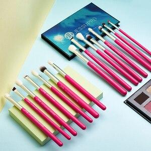 Image 5 - Jessup Pincel de maquillaje para ojos Kit de herramientas de belleza Sombra de ojos Barra de labios Lápiz labial Brochas de pelo de fibra Juego de pinceles 15 piezas Rosa carmín/Plata
