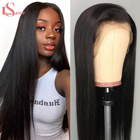 LS Straight Hair Lace Front Human Hair Wigs For Women Pre Plucked Brazilian 150% density Remy Hair Wig 13*4 Bleached Knots