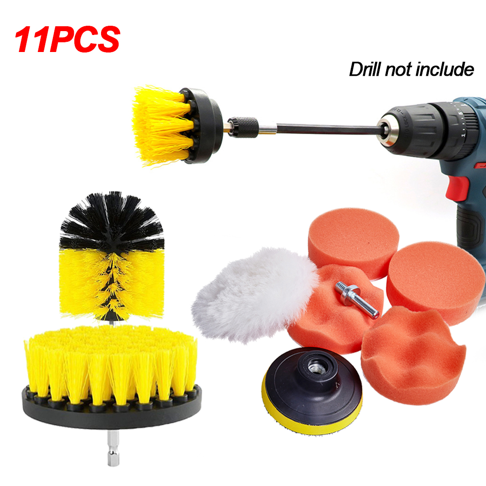 Car Clean Brush 3pcs Power Scrubber Drill Brush + 7 M10 Polishing Pads Sponge + 1 Extension Tube Car Polish Wheel Cleaning Kits