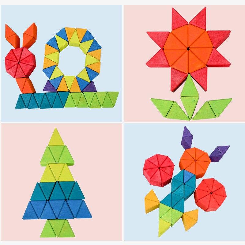 Большой треугольник из березы, детские строительные игрушки в коробке, строительные блоки, 12 цветов, складные детские Игрушки для раннего о... - 3