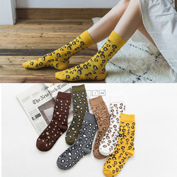 Lange Socken Leopard drucken Hohe Frauen Strümpfe Kawaii Herbst Winter Mode Neue Ankunft Dicken Harajuku Weihnachten Warme Gemütliche Dicke