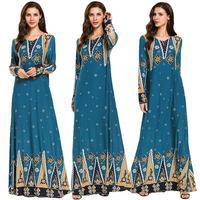 Abaya Women Printed Muslim Dress Dubai Kaftan Long Maxi Robe Vintage Jilbab Gown Ethnic Style Arab Islamic Clothing Middle East