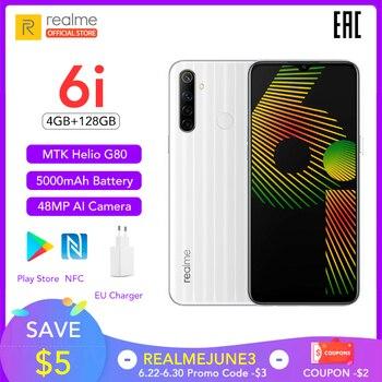 Купить Realme 6i 6 i глобальная Версия Мобильный телефон 4 Гб RAM 128 ГБ ROM EU вилка зарядное устройство MTK Helio G80 5000 мАч Dewdrop дисплей 6,5 дюйммобильный телефон