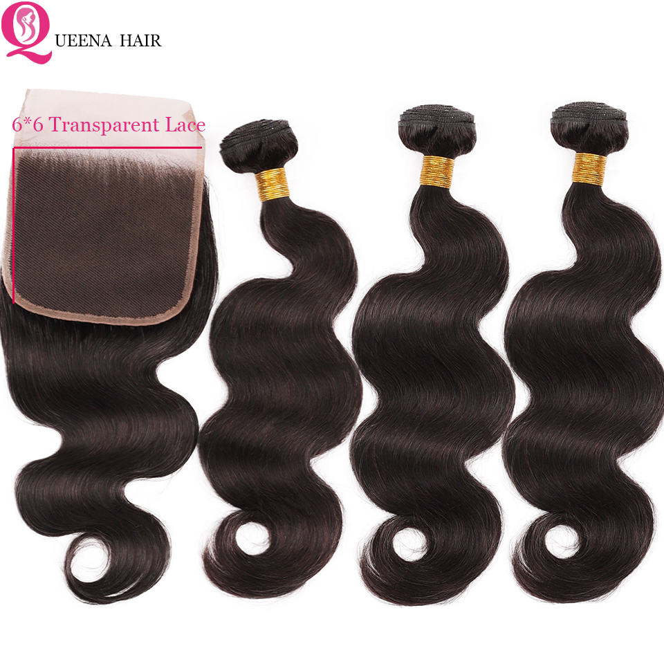 HD Lace Closure With Bundles 6x6 Transparent Lace Closure And Bundles Remy Mongolian Body Wave Human Hair Bundles With Closure