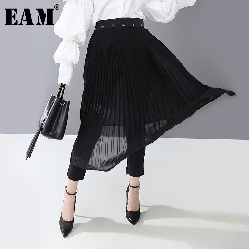 [EAM] High Elastic Waist Black Pleated Split Temperament Half-body Skirt Women Fashion Tide New Spring Autumn 2020 1R411